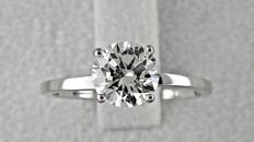 1.11 ct VS1 round diamond ring made of 18 kt white gold - size 6,5