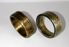 2 patriotic coin ring - 10 French francs - 2 German marks - 20th century