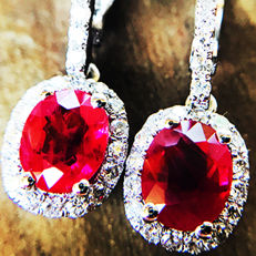 2.05ct Ruby and Diamond Earrings made of 18 kt white gold - NO RESERVE -