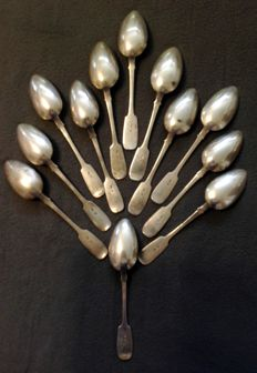Lev Fridrikhovich Oleks, 12 Russian silver spoons 875/1000, 1896-1908
