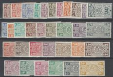 Railway stamps OBP nos. TR135 through TR166 Type National coat of arms