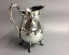 Silver plated water jug on claw feet, Rogers Plate, U.S.A., mid 20th century