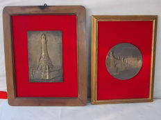 Unknown artist - pair of bronze plaques