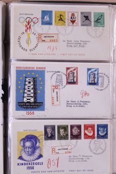 The Netherlands 1956/2000 - Batch of FDCs EDBs and folder in 9 albums