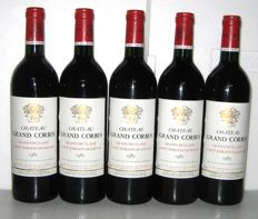 1985 Château Grand Corbin, Grand Cru Classé de Saint-Emilion - Lot of 5 bottles