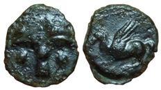 Greek Antiquity - Carthaginians in Sicily and North Africa, Siculo-Punic - AE (15,5mm; 1,73g.), circa 350-300 BC - Uncertain (sicilian?) mint - Palm tree / Pegasos - SNG Cop 1018