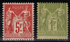 France 1883/1925 - Sage 1 Fr and 5 Fr - Yvert 82 and 216