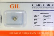 Diamant  0.38 ct - SI2 - Fancy Yellowish Gray