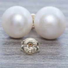 18 kt gold earrings with cultured pearls, 8 mm - No reserve.