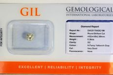 Diamond 0.38 ct - SI2 - Fancy Yellowish Grey - Without Reserve Price