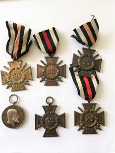 WW II Lot of 5 crosses of honour for combatants 1914-1918 / silver military merit medal 1892