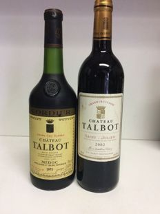 1973 & 2002 Chateau Talbot, Grand Cru Classe, Saint-Julien, France - 2 bottles 1x 0,73l & 1x 0,75l