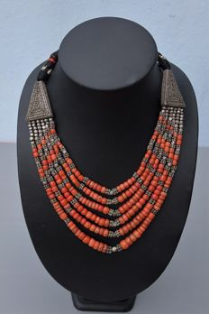 Yemeni Antique Coral & Silver Necklace