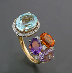 Topaz citrine amethyst brilliant-ring, total of 7.35 ct, 750 yellow gold -- No reserve price! --