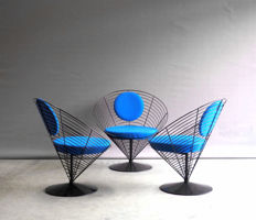 Verner Panton wire cone chairs - V-Chair 8800 - for Fritz Hansen - set of three