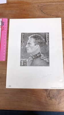 Belgium, numbered reproduction of drawing of Leopold III by Poortman, signed by the designer