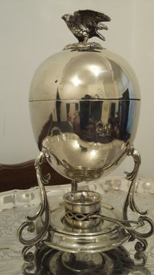 1860/1890 egg coddler 4 standing on 3 feet with burner silver plated made in england.