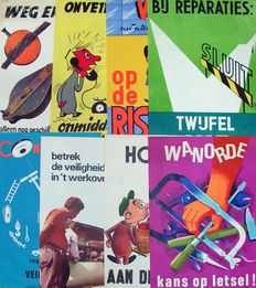 Vonk and others - 8 safety posters - 1965/1980