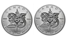 Canada - 2 x $5 - 2 pieces 999 silver / silver coin, Maple Leaf 2013, 25th Anniversary Edition