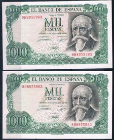 Spain - Correlative pair of 1,000 pesetas 1971 - Special series 9B - REPLACEMENT - Pick 154