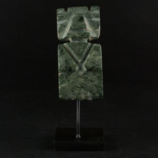 Pre-Columbian carved jade ceremonial axe god pendant.
