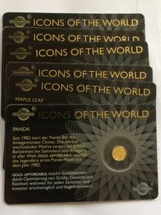 Rwanda - 10 Francs 2016 'Icons of the World' (lot of 6 coin cards) - 1/200 oz (x6) Gold