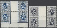 2x OBP KT8 and KT11, heraldic lion - Inverted stamps with gutter, forming a block of 4
