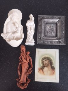Lot of 5 devotionalia: an alabaster Madonna water font, alabaster Joseph with child, metal icon Madonna with child, Madonna an glass portrait of Jesus