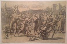"Marcantonio Raimondi (ca.1482 - ca.1534 )  taken from Raffaello - ""La strage degli innocenti"" - 19th century"