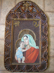 20 th century ortodox russian icon of Virgin Mary hand painted woodcarving