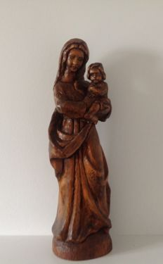 Statue in wood of the Virgin Mary and the child-france-late nineteenth