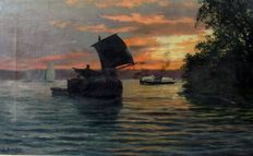 "N. de Bruyker (20th century) - Belgian school - ""River view at evening with boats"""