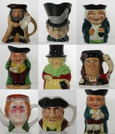 Collection of 9 Vintage British Pottery Toby & Character Jugs - Richard III, Shylock, Mad Hatter
