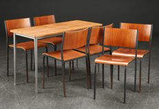 Industrial design, set of six stackable, old school chairs with table.
