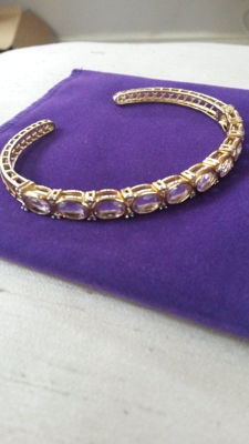 Beautiful Vintage Brazillian Amethyst & Diamond Bangle. 6.99cts  No Reserve