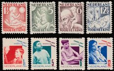 The Netherlands 1930/1931 - Children Stamps, syncopated  perforation - NVPH R86/R89 and R90/R93.