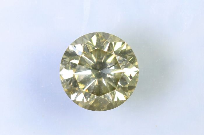 Diamant  0.43 ct - SI1 - Fancy Greenish Yellow - Zonder Reserve Prijs