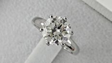 2.32 ct  round diamond ring made of 14 kt white gold - size 5,5