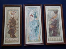 3 embroidered and framed Mushas