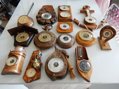 14 beautiful barometers including 3 thermometers - most of them old - wooden and copper in different shapes - 20th century - from France and from abroad