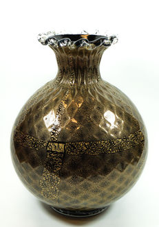Silvano Signoretto - black and gold balloton vase
