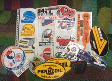 Lot with 34 vintage autosports related stickers