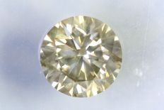 Diamant  0.43 ct - SI2 - Fancy Yellowish Gray - Zonder Reserve Prijs