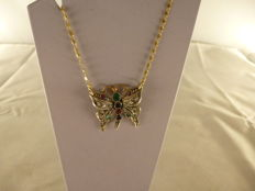 Necklace with butterfly-shaped pendant – 1960s