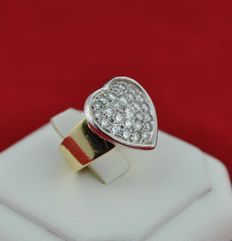 Heart Ring made of Diamonds (1.50ct GH/ VS) set on 18karat white & yellow Gold -  E.U Size 48 resizable