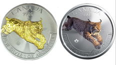 Canada - 2x5 CAD - Predator Lynx/Lynx 2017 - Second Edition - 2 x999 silver coins with 24 karat gold edition + colour edition