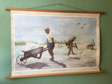 School poster salt production at the Pekelmeer. Bonaire.