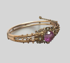Biedermeier bracelet with amethyst and pearls, gold-plated, from around 1890