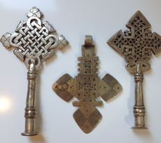 Three ceremonial coptic crosses -COPTS - Ethiopia, Dese region
