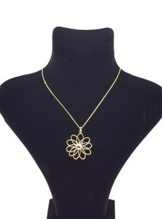 14 carat chain with Circle Pendant - chain length : 46 cm